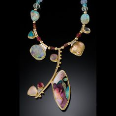 Judy Goskey: one of a kind opalescent and transparent cloisonne enamel with apatite, opal, chalcedony, tourmaline, rose quartz, Edison pearl, iolite beads and cabochons in hand fabricated settings of gold and silver
