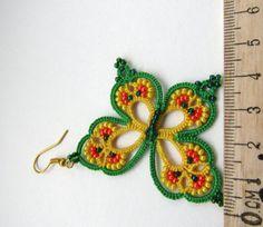 Rainbow farfalla orecchini orecchini verde giallo orecchini
