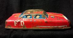 Vintage Fire Dept NO 11 Emergency Tin Car ~ Collection / Display~ No Play