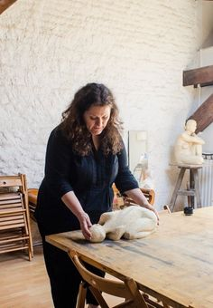 French Artist Sandrine Follère at Home in the Kitchen & the Studio