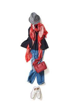Kyoko Kikuchi's Closet #kk-closet 赤を効かせたフレンチカジュアル