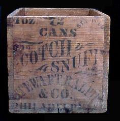 C1880 Wood Scotch Snuff Tobacco Crate Stenciled Philadelphia Stewart Ralph Cool   eBay