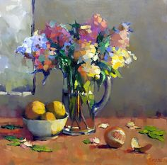 Francie's Bounty depicts a glass pitcher of hydrangeas surrounded by oranges, one peeled, by Virginia colorist, Trisha Adams. #OilPaintingFlowers