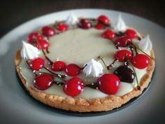 Cherry tart with white chocolate