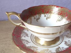 Antique bone china tea cup and saucer set, vintage 1950's Royal Stafford English tea set, red white and gold tea cup