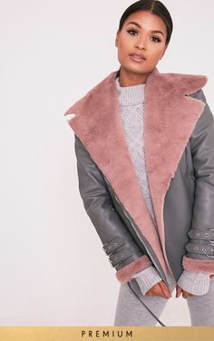 Liane Grey Premium Faux Fur Lined Aviator - Coats & Jackets - PrettylittleThing | PrettyLittleThing