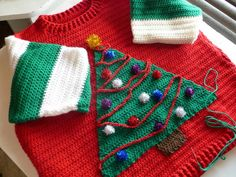 Ugly Christmas Sweater - CROCHET. Oh my goodness. So good. Base sweater pattern: http://www.redheart.com/free-patterns/father-pullover
