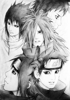 Uchiha clan: Sasuke, Obito, Madara, Itachi, & Shisui. #naruto