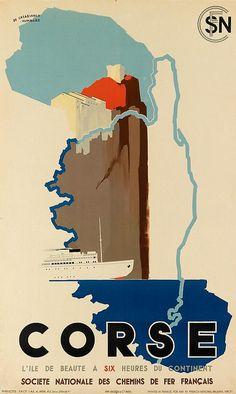 SNCF - Corse - l'île de beauté à six heures du continent - 1938 -