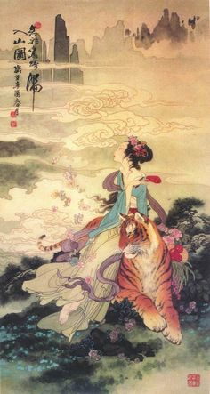 (China) Mythical lady by Hua Sanchuan Classical Art, Classic Art, Asian Art, Vintage Art, Illustration Art, Art, Art Wallpaper, Geisha Art, Aesthetic Art