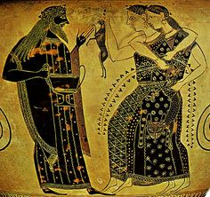 Detail: Dionysos, holding a kantharos, with 2 maenads (one holding hare, other fawn) dressed in panther skins. Attic Black-figure neck amphora by the Amasis Painter and Amasis (potter), 540 - 530. Names above figures. Side B. H. 33 cm. Simon, Erika. Die Griechischen Vasen. Hirmir Verlag, Munich: 1981. Color Plate XXIII