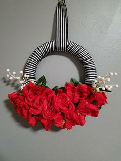 Excited to share the latest addition to my #etsy shop: Romantic Valentine Red Roses Wreath, Black Stripe Valentine Wreath, Fabric Gothic Valentine Wreath, Red Rose Love Valentine Wreath #homedecor #red #wedding #valentinesday #valentine #wreath #love #etsyshop #etsysell #handmade #redroses  http://etsy.me/2CZ8BeJ