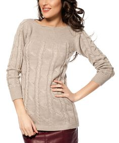 Another great find on #zulily! Mink Cable Knit Tunic by L'Adore #zulilyfinds
