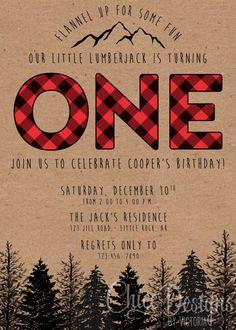 Lumberjack Birthday Party Invite First Birthday by ChiccDesigns