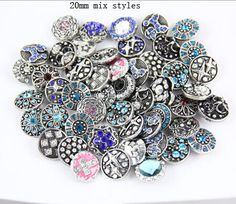 free DHL wholesale 200pcs/lot High quality Mix Many styles 18mm Metal Snap silver watch Rhinestone Styles silver Jewelry