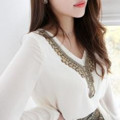 Joliefemme  V-Neck Beaded Accent Top
