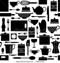 stock-vector-seamless-pattern-with-kitchen-items-in-black-and-white-102271405.jpg (450×470)