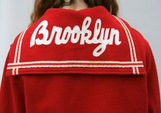 Vintage Letter Jacket Cheerleading Red Wool BROOKLYN