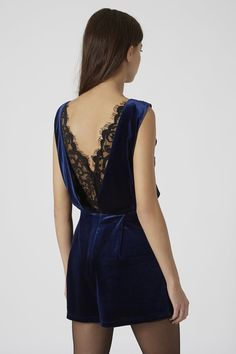 66c6d85cc4 Velvet Lace Back Playsuit - Midnight Blue