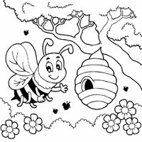 Web page bee on hive Bee Coloring Pages, Farm Animal Coloring Pages, Spring Coloring Pages, Printable Coloring, Coloring Books, Coloring Sheets, Easter Bunny Colouring, Bee Activities, Bee Embroidery