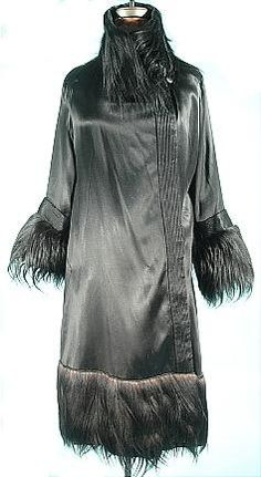 c. 1920's Black Satin Flapper Coat with Monkey Fur Trim