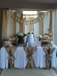 Used (normal wear), Dessert table backdrop with love is sweet sign. And table burlap pieces with 2 bows (can't find the bow). Used for bridal shower. Make an offer! Used (normal wear), Dessert table backdrop with Rustic Wedding Decorations, Burlap Table Decorations, Bridal Shower Table Decorations, Table Centerpieces, First Communion Decorations, Wedding Ideas With Burlap, Rustic Theme Party, Wedding Shower Centerpieces, Decor Wedding