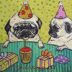 Modern Cross Stitch Kit ' Pug Birthday ' By Jay