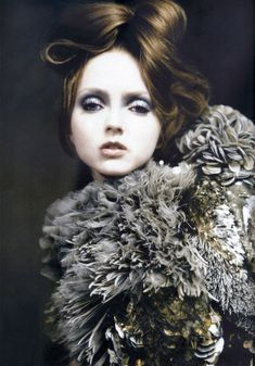 Lily Cole wearing Givenchy haute couture S/S 2007, photographed by Paolo Roversi for Vogue Italia, 'Atelier Couture', March 2007.