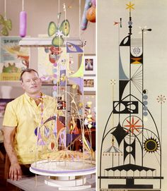 Rolly with model and sketch for his Tower of the Four Winds for the 1964 World's Fair