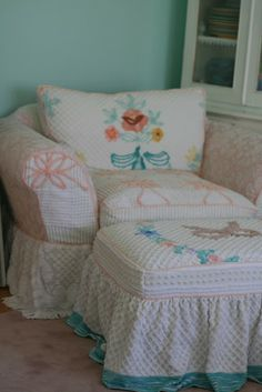 Custom Slipcovers by Shelley: Vintage Chenille Bedspread Slipcovers... I LOVE THESE.. reminds me of my mawmaws house when i was a kid.. she had lots of chenille bedspreads. i liked them because they were fuzzy!