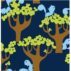 love this fabric! squirrels & trees in navy sewpretty.co.nz