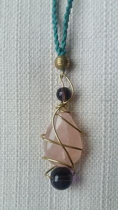 Rose quartz and amethyst pendant by Weavedmagic on Etsy