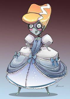 #Cinderela virou #Frankenstein   Cute Monster Princesses by Jennifer