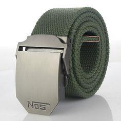 44, Khaki Preppy Fabric with Ribbon Inlay Men/'s Belt