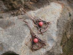 Серьги медные Коралловое лето в каталоге Аксессуары на Uniqhand - серьги, подарок, оригинальный подарок, медная проволока
