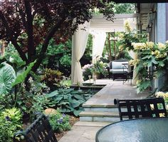 bluestone living room with shade gardens