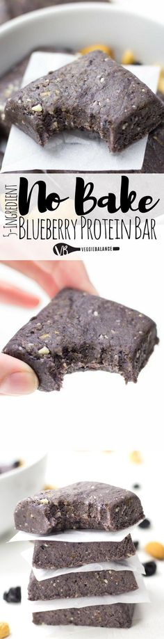 No Bake Protein Bars are super simple and the perfect copycat recipe for those delicious RX Bars. The ultimate combination of protein-packed blueberry muffin flavor. Haven't had a Blueberry RX bar yet (Simple Baking Protein Bars) Healthy Protein Snacks, Protein Bar Recipes, Protein Desserts, Healthy Bars, Healthy Sweets, Healthy Baking, Snack Recipes, Protein Foods, Free Recipes