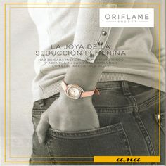 LA JOYA DE LA SEDUCCIÓN FEMENINA. . Reloj Sparkling Luxe Reloj de línea clásica y atemporal con correa estrecha en color rosa y carátula plateada con pieza superior con pequeños cristales. . #Oriflame #Oriflamer #Accesorios #montero1263