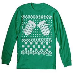 Irish Clovers, Beer and Fighting Leprechauns Ugly Christmas Sweater T-shirt Long Sleeve Irish Green ShirtInvaders http://www.amazon.com/dp/B00PHF65BG/ref=cm_sw_r_pi_dp_jzPEub0MM4Y3Y