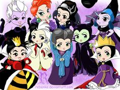 Fan Art of Disney Villainesses - chibi for fans of Disney Leading Ladies. Why the heck there isn`t Madame Mim on that picture? She`s such a great villainess!