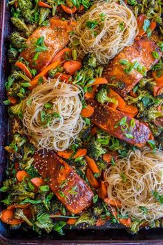 Sheet Pan Asian Salmon with Broccoli, Carrots, and Rice Noodles from The Food Charlatan