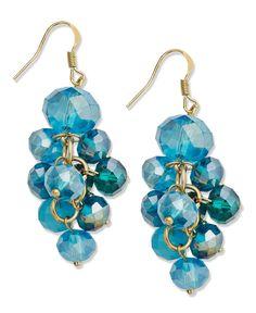 c.A.K.e. by Ali Khan Earrings, Turquoise Glass Beaded Cluster Drop
