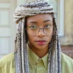 glasses, gray braids, pastel