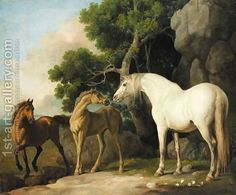 A mare and foal with a bay horse by George Stubbs