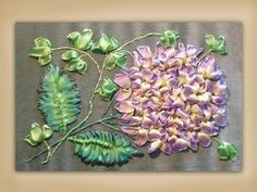 how to embroider a silk ribbon hydrangea and ivy group