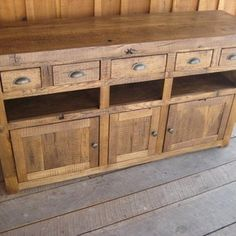 These tv console are hand crafted from 100 year old reclaimed wormy chestnut barnwood. The backing have centered holes for wire/cord access & the hard… Rustic Wood Furniture, Pallet Furniture, Custom Furniture, Furniture Plans, Kids Furniture, Unique Furniture, Wormy Chestnut, Wood Entertainment Center, Rack Tv