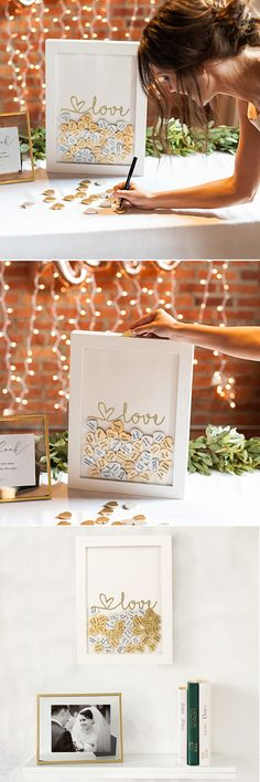 Be sure to capture the names and hearts of your wedding guests with the Love Heart Drop Guestbook. Beautifully printed on the wide window, this guestbook features a hinged top, hanging hardware, and 100 silver and gold guest hearts. After the wedding, this unique guestbook will keep the signatures of treasured loved ones safe as a gorgeous piece of décor.