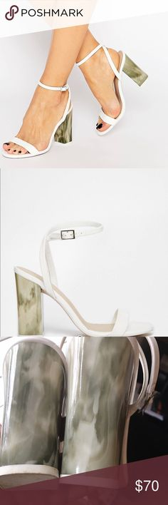 """ASOS HUE Healed Sandals Score a wardrobe win no matter the dress code with these sandals. Open toe design, faux leather upper, contrast high heel, heel height=4"""" ASOS Shoes Sandals"""