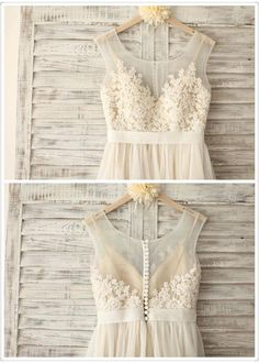 Lace Chiffon Wedding Dress with Champagne by SimpleLoveWDress