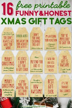 Best Honest Gift Tags for Christmas: 16 FREE Printable Funny Christmas Gift Tags in 4 different color schemes! 16 Free Printable Funny and Honest Christmas Gift Tags in 4 different color schemes - Get the best funny gift tags for Christmas. Funny Christmas Gifts, Christmas Gift Wrapping, Christmas Humor, Xmas Gifts, Christmas Crafts, Diy Gifts, Diy Gift Tags, Santa Gifts, Christmas Ideas